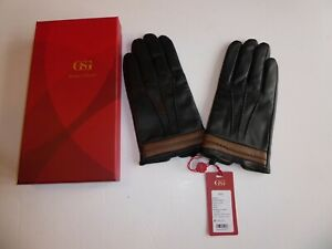 MENS LUXURY LEATHER CAMEL COLOUR GLOVES - SIZE 10 (L) - RRP £85.99 - NEW