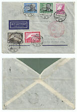 GERMANY 1935 ZEPPELIN COVER MULTIPLE FRANKING 4+1RM  ZEPPELIN DUISBURG TO BRAZIL
