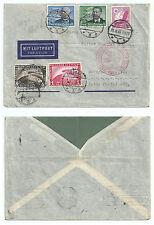 GERMANY 1935 ZEPPELIN COVER MULTIPLE FRANKING 4+1RM  ZEPPELIN DUISBURG TO BRAZIL
