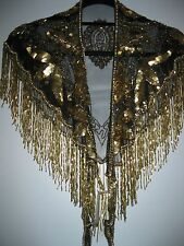 Gold Sequined Krishna Scarf By Modelia Never Worn Beautiful With Tags & Beads