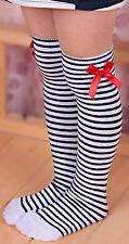 Niña Chica Princesa Rodilla Calcetines Altos Blanco Negro Rayas Sock 1-6 Años