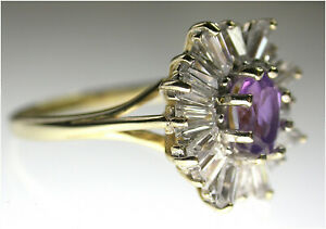 Amethyst Diamond Cluster Ring Simulants SIZE X 9ct gold Quality B/ham HM c1991