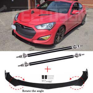 For Hyundai Genesis Coupe 2013-16 Front Bumper Lip Splitter Spoiler + Strut Rods