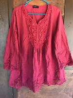 YING @ CAI New York Women's Beautiful & Intricate Pullover Blouse, Size Large