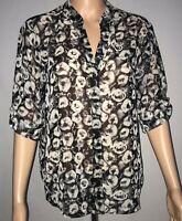 Pleione Womens Top Size M Black White Roses Short Sleeve Sheer Blouse Shirt