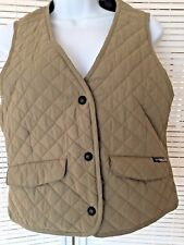 ExOfficio Adventure Wear Tan Quilted Vest Women's Size 6/8 Snap-up 4 pockets