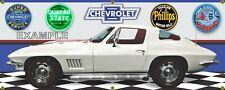 1967 Chevrolet Corvette Coupe White, Garage Scene 13oz.Vinyl Banner.Two sizes