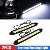 2Pcs 20W Waterproof LED 12V Daytime Running Light DRL COB Strip Lamp Fog Car F9