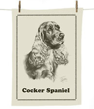 Mike Sibley Cocker Spaniel dog breed cotton tea towel - dog lover gift