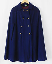 Vtg Halldon Ltd Nurse Cape/Poncho 100% Wool Navy Blue Double Breasted SizeL