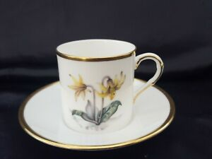 ROYAL WORCESTER PANSY & DAFFODIL COFFEE CUP & SAUCER - GOOD CONDITION