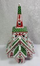 Church Candle Lantern Fok Art Style Christmas Winter Holidays Ceramic Tea Light