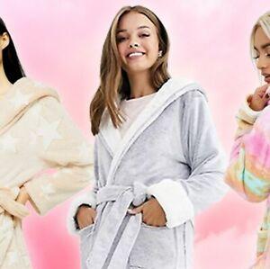 TOPSHOP soft Grey Long Spot Textured Dressing Gown Robe - GREY Medium M NEW