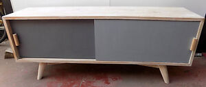 TV Cabinet Solid Wood White With Counters Gray cm150x40x61 Years 70
