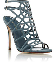 SERGIO ROSSI SUEDE PUZZLE CAGED SANDALS EU 37.5 UK 4.5 US 7.5