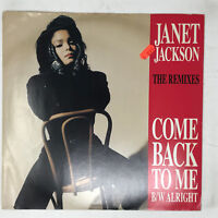 "Janet Jackson Come Back To Me / Alright Vinyl Record Original 1990 Remix 12"""