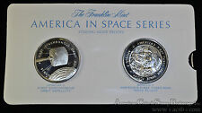 Franklin Mint America in Space 39mm silver Medal Set Apollo 7 + Syncom II.