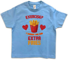 Extra Fries Kids Boys T-Shirt Pommes Exercise I Thought You Said Fun Fast Food