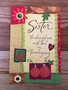 """American Greetings Thanksgiving Glitter Card """"Sister, Thinking of You with Love"""""""