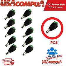 Connector for CCTV  DC Power Male  5.5 x 2.1mm Jack Adapter Cable Plug / 10pcs