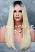 Long silky Straight Center Mono Lace Front Wig HEAT SAFE Blonde w. Root THL 1b88