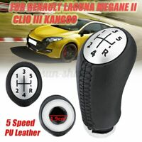 5 Speed Gear Shift Knob Leather For RENAULT Laguna Megane Scenic 2 Clio 3 Kango