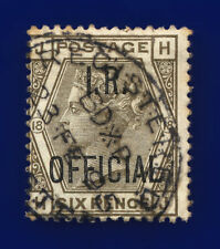 1882 SGo4 6d Grey (Plate 18) I.R. Official L5 23 FE 95 Good Used Cat £140 cnva