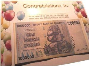 Actual ONE MILLION DOLLARS legal tender (Zimbabwe) GAG GIFT, birthday, fun, card