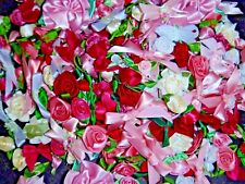 250+ Satin Ribbon Roses and Bows-Shabby Mix-Pinks/Reds