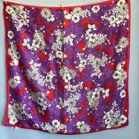 """32"""" Vintage Oscar De La Renta Red Purple Floral Silk Scarf Pansy Daisy Bold"""