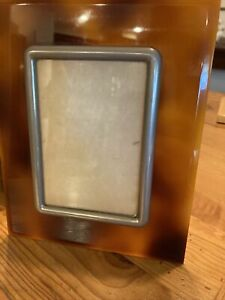"""Vintage Amber Lucite & Silver Metal Photo Frame 6.75""""x8.25"""""""