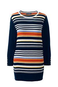 Lands'End Women Tall Supima Cotton Ottoman Stripe Sweater Deep Sea TXL 484359 J
