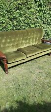 3 piece suite in Green. 3 seater Settee and 2 armchairs in solid wood. Bargain.