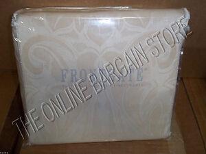 Frontgate Egyptian Cotton Damask Duvet Cover Full Queen FQ Tan Cream Jacquard