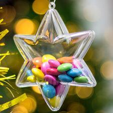 x 5 Plástico Transparente En Forma De Estrella Decoración De Navidad 100mm
