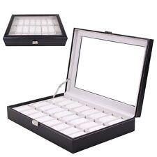 Watch Display Box 24 Grid Wristwatch Storage Case Organizer Black Leather XH