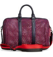 Steve Madden Thundr Woven Mesh PVC Large Satchel, Red/Blue $108