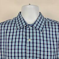 Bugatchi Uomo Classic Fit Blue Check Plaid Mens Dress Button Shirt Size Large L