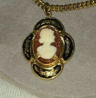 "KARU Brass and Enamel Cameo Necklace 16"""
