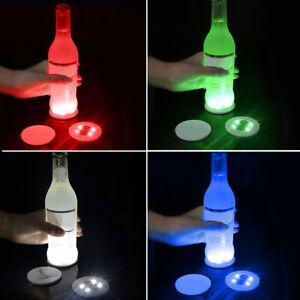 LED 4 Colour Changing Light Up Coasters Drinks Mats Base Beer Bottle Mat Deco