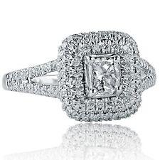 1.12Ct F-SI1 Radiant Cut Diamond Engagement Halo Ring Split Shank 18k White Gold