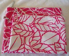2 CLINIQUE Floral PINK LEAVE COSMETICS MAKEUP BAGS