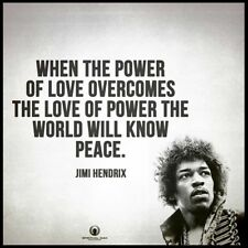 Men's Ladies T SHIRT cool Jimi peace quote Power of Love hippy superstar