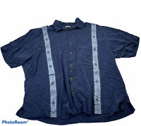 Tommy Bahama Mens Size 2XL Blue Embroidered Silk Short Sleeve Button Front Shirt