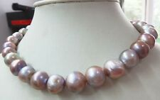 """Huge 18"""" 12-15mm natural SOUTH SEA genuine Purple near round pearl necklace"""