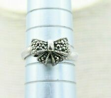 Vintage Sterling Silver Ring Bow Marcasite statement Art Deco gift Size K #N403
