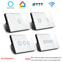 Touch Light Switch 1 2 3 4 Gang or WiFi Wall Light Switch Glass Panel US AU Type