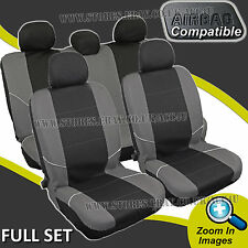 Black Grey Side Airbag Compatible Machine Washable Car Seat Covers Full Set