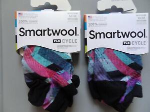 NEW 2 Pairs SmartWool PhD Cycle Ultralight Print Micro Merino Wool Socks Women M