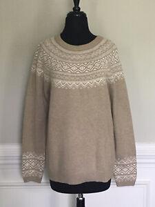 NEW Talbots Sweater Beige & Cream Fair Isle Size L Large